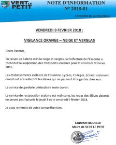 NOTE INFO 2018-01 Vigilance orange neige et verglas